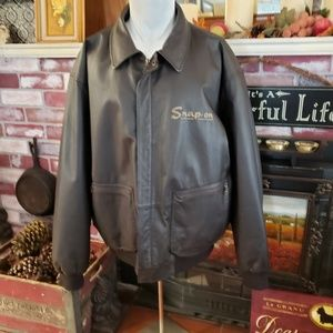 SNAP-ON RETRO MENS BROWN LEATHER JACKET XL